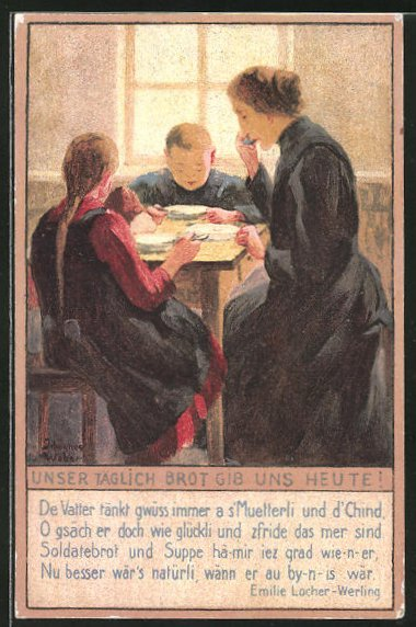 Künstler-AK sign.3. Weber: Unser täglich Brot gib uns heute!, hungrige Familie am Esstisch, Kriegsnot