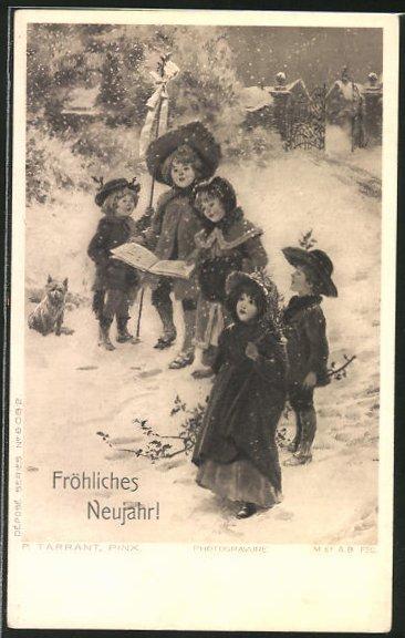 Künstler-AK sign.P. Tarrant: Fröhliches Neujahr!, singende Kinder im Schnee