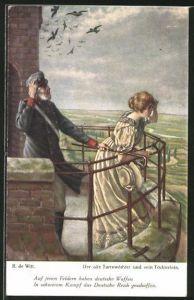 Künstler-AK sign.R. de Witt: der alte Turmwächter und sein Töchterlein