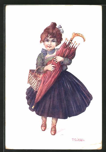 Künstler-AK T. Welzl: kleines Mädchen mit Regenschirm und Äpfeln im Korb