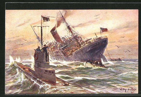 Künstler-AK Willy Stoewer: Vernichtung eines engl. Handelsdampfers durch ein deutsches U-Boot