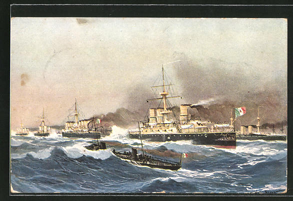 Künstler-AK Willy Stoewer: Italienische Kriegsschiffe in unruhiger See