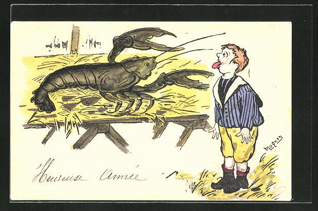 Künstler-AK Manuel Wielandt: Junge streckt dem grossen Hummer die Zunge aus,