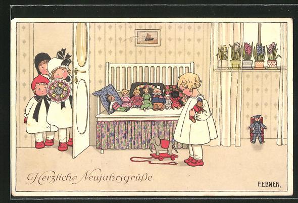 Künstler-AK Pauli Ebner: Mädchen wartet auf ihre Freundinnen,