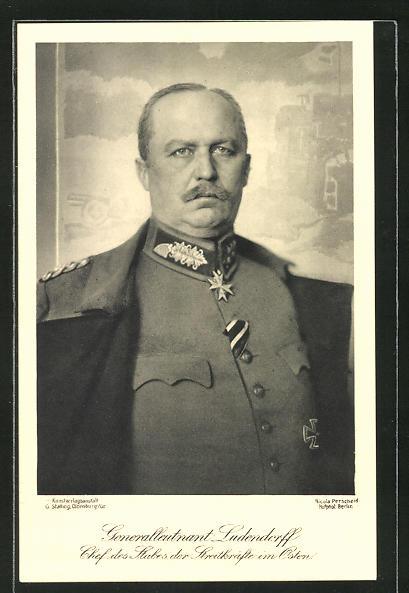 AK Generalleutnant Erich Ludendorff, Chef des Stabes der Streitkräfte im Osten