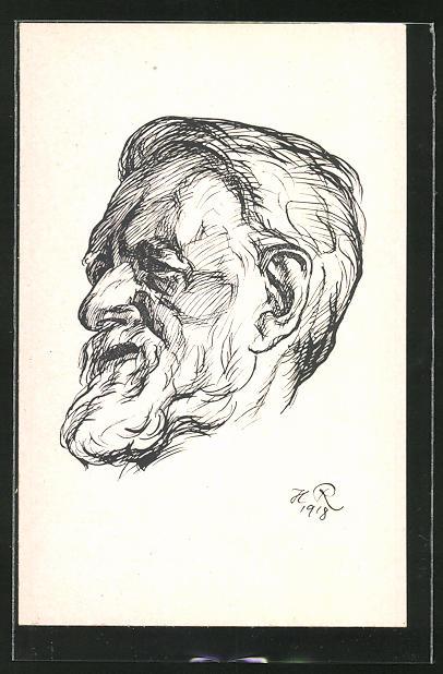 Künstler-AK Portrait vom Philosophen Rudolf Eucken