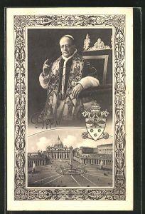 AK Papst Pius XI. im Thron und der Petersplatz