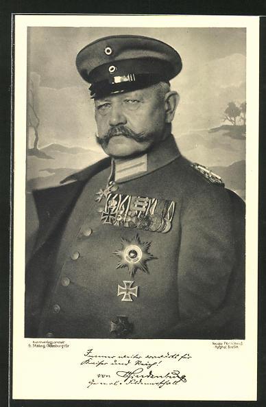 AK Paul von Hindenburg in Uniform mit Orden