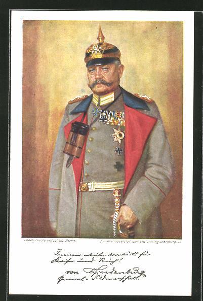 AK Paul von Hindenburg in Uniform mit Orden & Pickelhaube