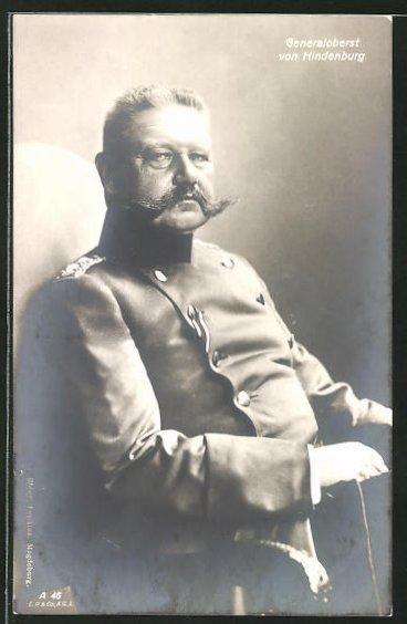 AK Generaloberst Paul von Hindenburg im Portrait