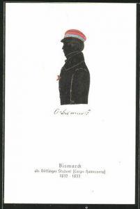 AK Bismarck als Göttinger Student, Corps Hannovera