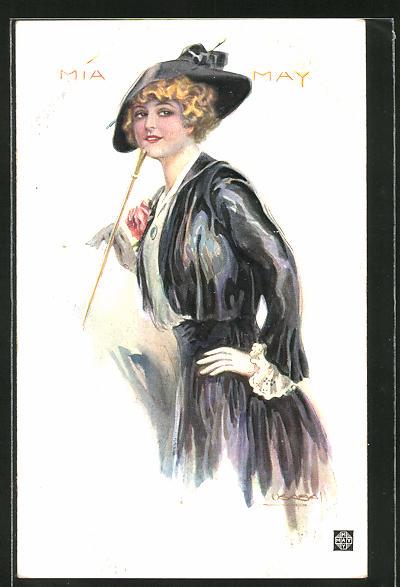 Künstler-AK Luis Usabal: Mia May, Blondine mit schwarzem Hut