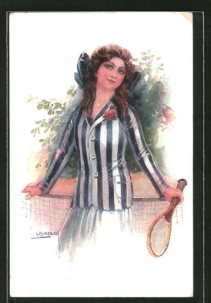 Künstler-AK Luis Usabal: junge Tennisspielerin mit grosser Schleife im Haar
