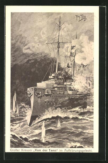 Künstler-AK Arthur Thiele: Kriegsschiff