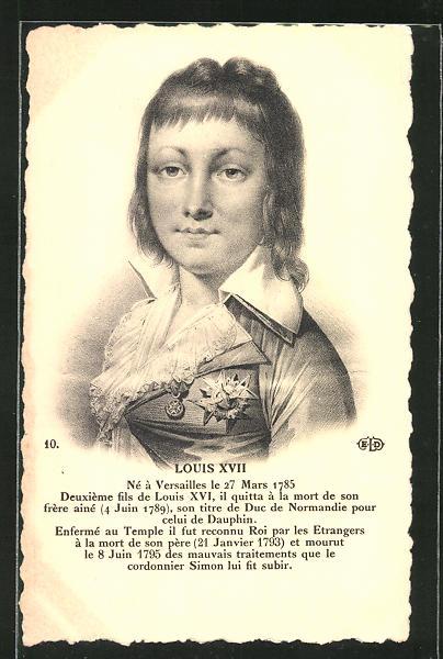 AK Louis XVII von Frankreich mit Orden