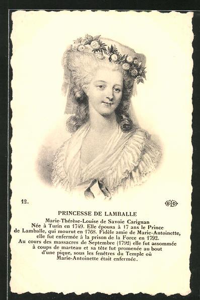 AK Portrait von Princesse de Lamballe von Frankreich