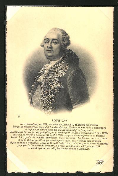 AK Bildnis von Louis XVI von Frankreich