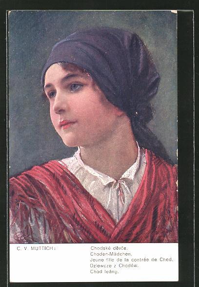 Künstler-AK Camil Vladislav Muttich: Choden-Mädchen