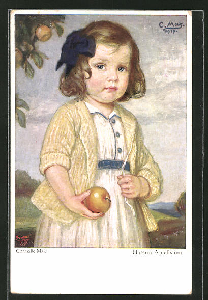 Künstler-AK Corneille Max: Unterm Apfelbaum, kleines Mädchen mit einem Apfel