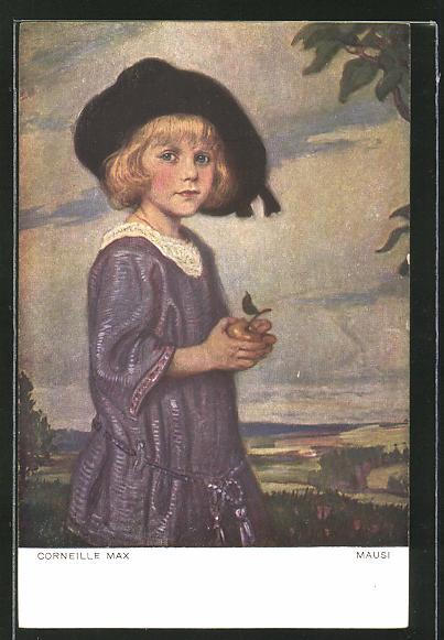 Künstler-AK Corneille Max: Mausi, Mädchen mit Hut und Apfel in den Händen