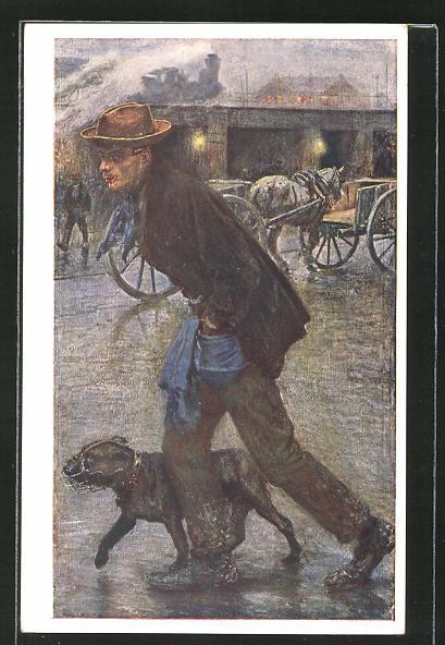 Künstler-AK Hans Larwin: Charretier, Mann geht mit Hund im Regen Gassi