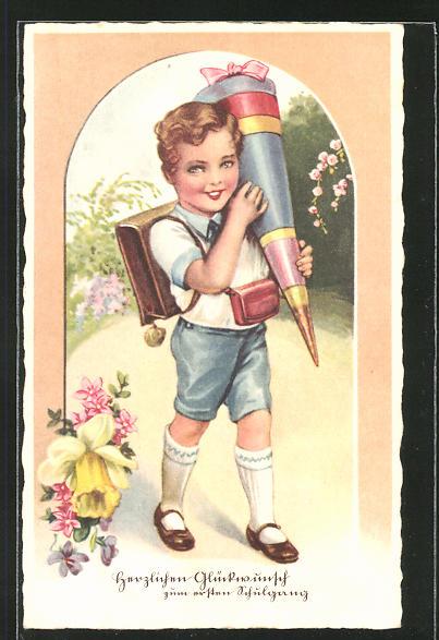 AK Knabe am Schulanfang mit Ranzen und Schultüte