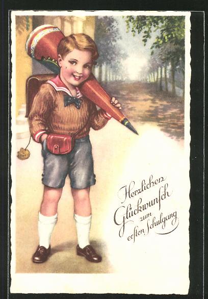 AK Junge mit Ranzen und Schultüte am Schulanfang