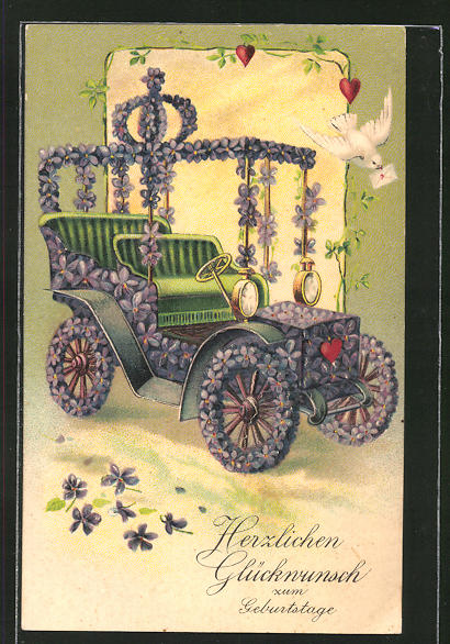 Präge-AK Auto aus Veilchen mit Brieftaube, Blumenbild