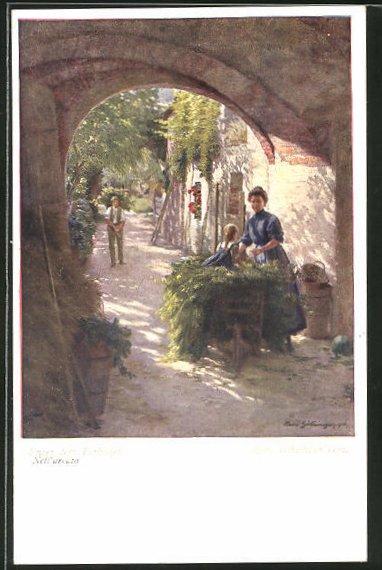 Künstler-AK Hans Götzinger: Unter dem Torbogen, Dorfidyll