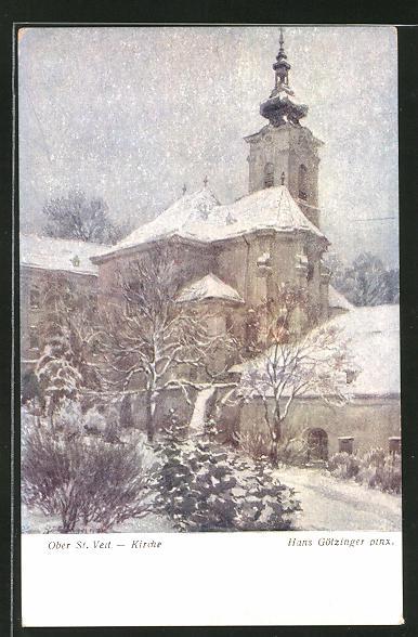 Künstler-AK Hans Götzinger: Ober St. Veit, Winterblick zur Kirche