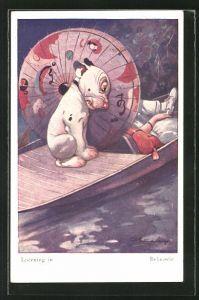 Künstler-AK George Ernest Studdy: Bonzo lauscht hinterm Sonnenschirm auf dem Boot