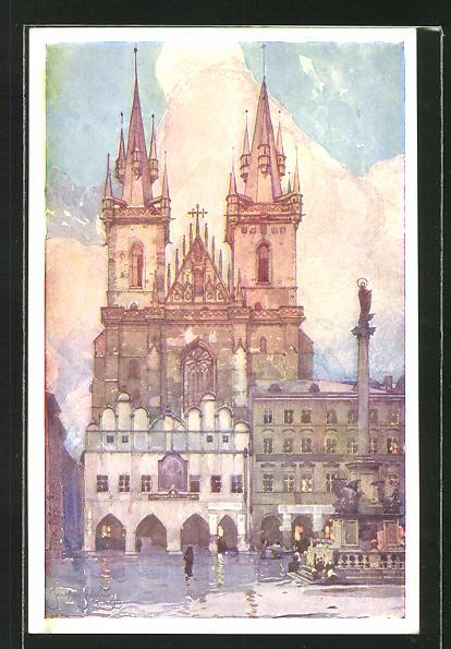 Künstler-AK Jaroslav Setelik: Tyn, Eglise de Tyn, Kirche