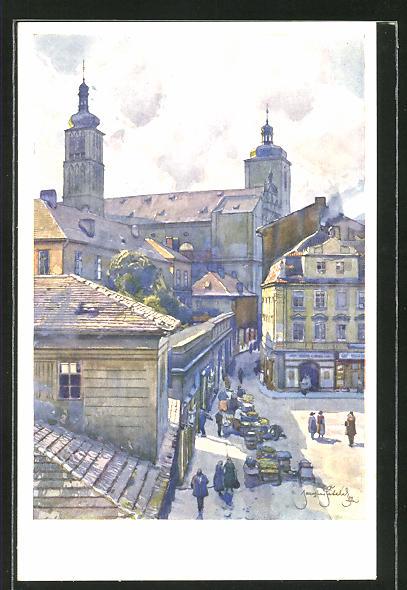 Künstler-AK Jaroslav Setelik: Prag / Praha, U sv. Jakuba-St. Jaques
