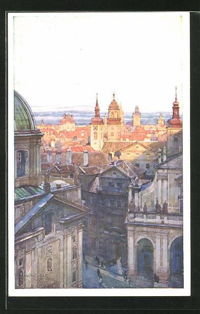 Künstler-AK Jaroslav Setelik: Prag / Praha, Skupina Staromestska s mostni veze