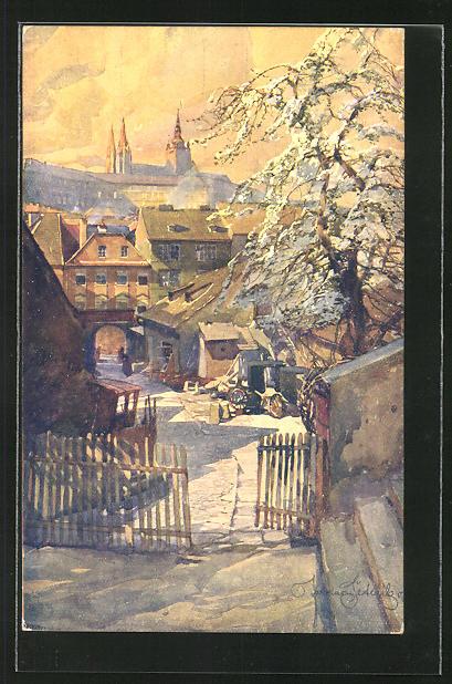 Künstler-AK Jaroslav Setelik: Prag / Praha, Malostransky dvorecek