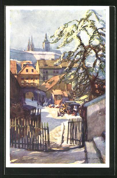 Künstler-AK Jaroslav Setelik: Prag / Praha, Pos Schönbornskou zahradou, Winterpartie