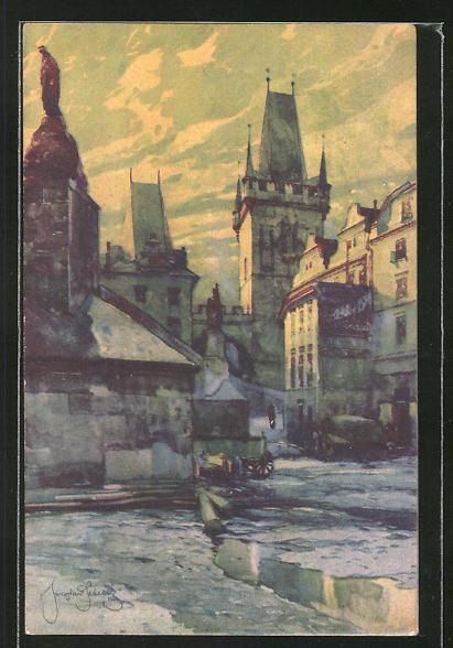Künstler-AK Jaroslav Setelik: Prag / Praha, Mostni malostranske zakouti