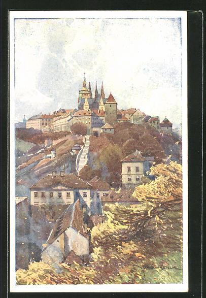 Künstler-AK Jaroslav Setelik: Prag / Praha, Hrad od Marianskych bast, Schloss
