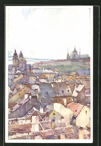 Künstler-AK Jaroslav Setelik: Prag / Praha, Pohled s mostni veze malostranske k Hradcanum