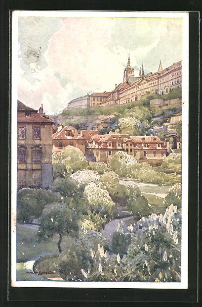Künstler-AK Jaroslav Setelik: Prag / Praha, Fürstenbergska Zahrada