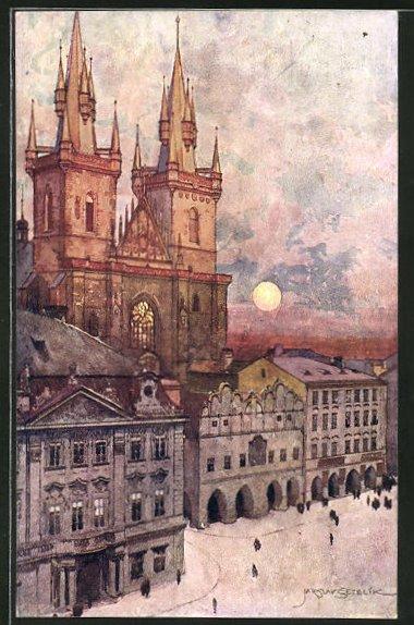 Künstler-AK Jaroslav Setelik: Prag / Praha, Tynsky Kostel, Teinkirche