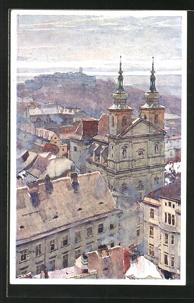 Künstler-AK Jaroslav Setelik: Brünn / Brno, Dominikanerkirche und Spielberg