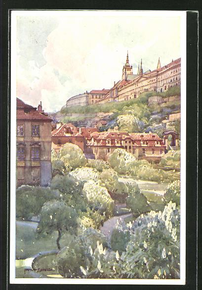 Künstler-AK Jaroslav Setelik: Prag, Partie im Fürstenbergschen Garten