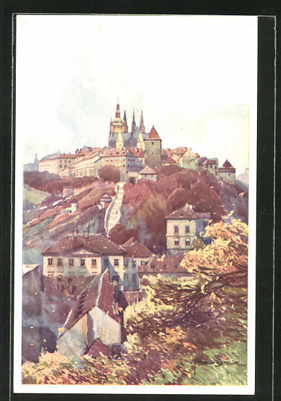 Künstler-AK Jaroslav Setelik: Prag, Die Burg von d. Marienbastei aus