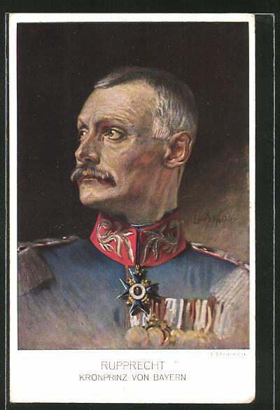 Künstler-AK Kronprinz Rupprecht von Bayern in Uniform mit Ordensspange