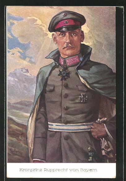 Künstler-AK Kronprinz Rupprecht von Bayern in Uniform