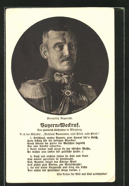 Künstler-AK Kronprinz Rupprecht von Bayern, Bayern-Weckruf