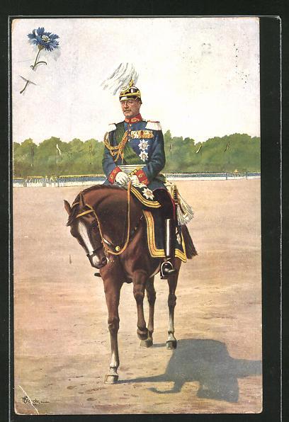 Künstler-AK König Friedrich August von Sachsen zu Pferd