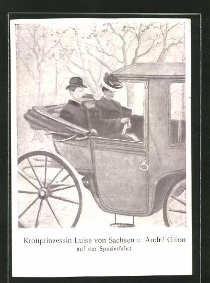 AK Kronprinzessin Luise von Sachsen und André Giron auf der Spazierfahrt