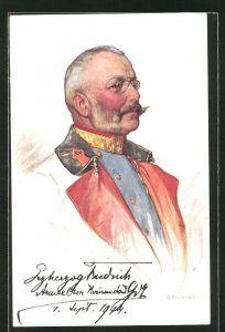 Künstler-AK Erzherzog Friedrich von Österreich, Armee Oberkommandant